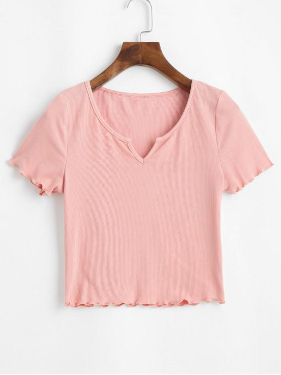 womens ZAFUL Ribbed Lettuce Trim Cropped Tee - PINK ROSE S