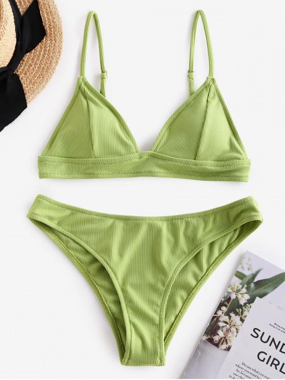 best ZAFUL Ribbed Seam Detail Cami Bikini Swimsuit - PISTACHIO GREEN L