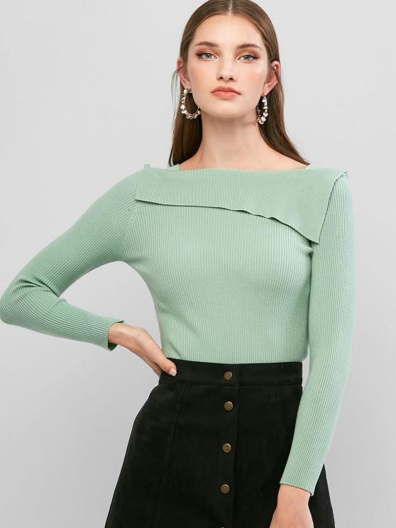 Camiseta Acanalada Cuello Cuadrado - Verde claro Talla única