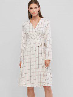 ZAFUL Robe Enveloppée à Carreaux à Manches Longues - Blanc S
