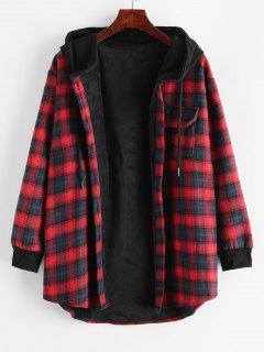 Plaid Button Up Pocket Hooded Coat - Red L