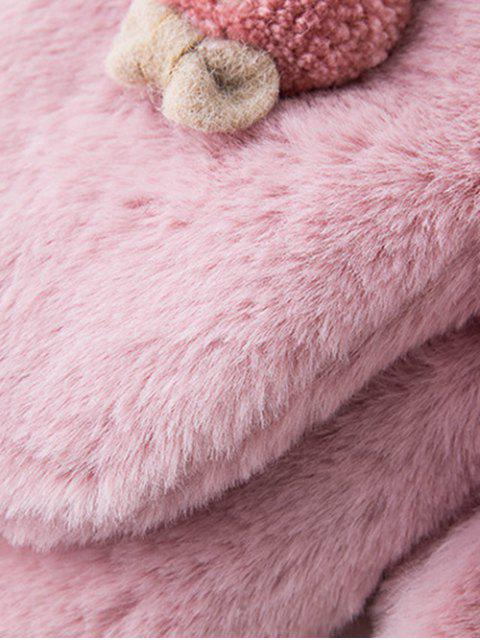 unique Winter Rabbit Velour Mitten Gloves - PINK ROSE  Mobile