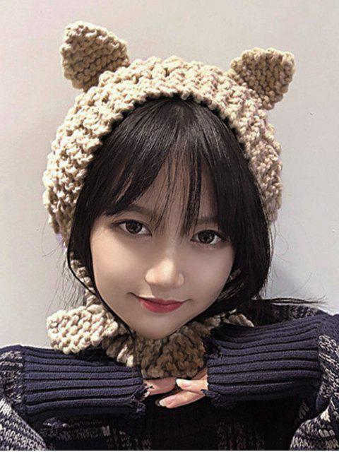 new Knitted Woolen Yarn Ears Shape Hair Accessories - BEIGE  Mobile
