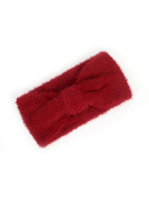 outfit Faux Fur Bowknot Wide Headband - RED WINE  Mobile
