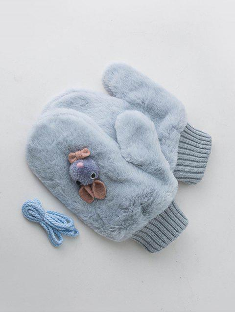 shop Winter Rabbit Velour Mitten Gloves - PASTEL BLUE  Mobile