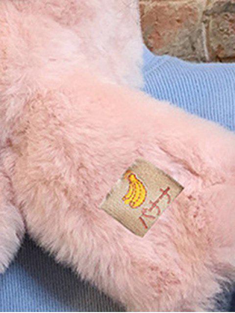 affordable Fruit Applique Solid Cross Fluffy Scarf - LIGHT PINK  Mobile