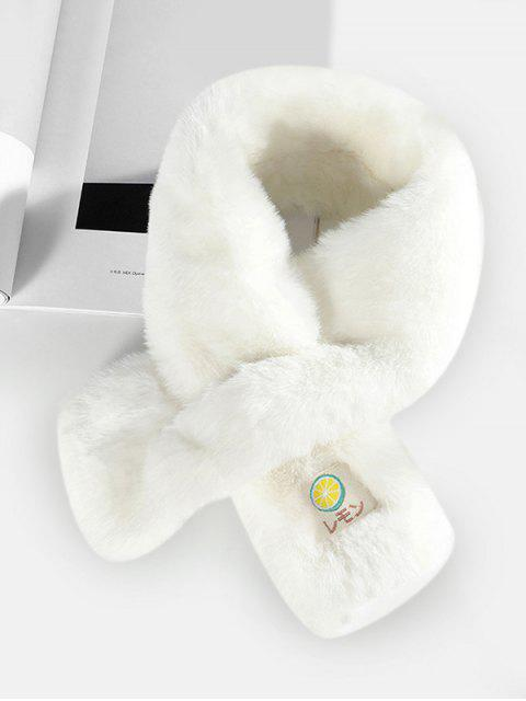 buy Fruit Applique Solid Cross Fluffy Scarf - MILK WHITE  Mobile