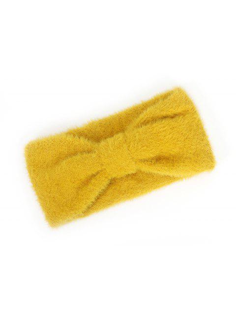 best Faux Fur Bowknot Wide Headband - GOLDEN BROWN  Mobile