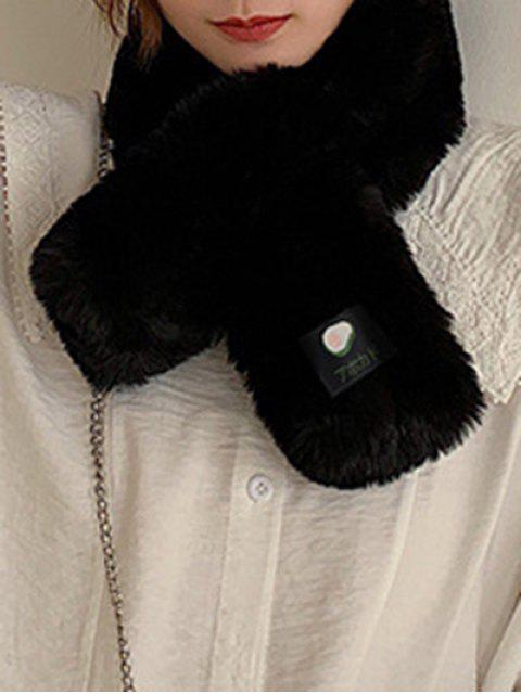 new Fruit Applique Solid Cross Fluffy Scarf - BLACK  Mobile