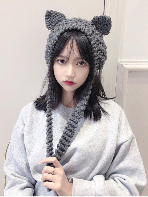 outfits Knitted Woolen Yarn Ears Shape Hair Accessories - GRAY  Mobile