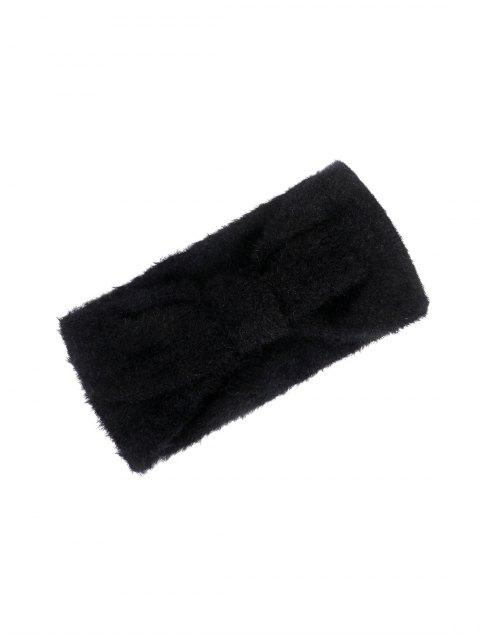 Bandeau Large en Fausse Fourrure avec Nœud Papillon - Noir  Mobile