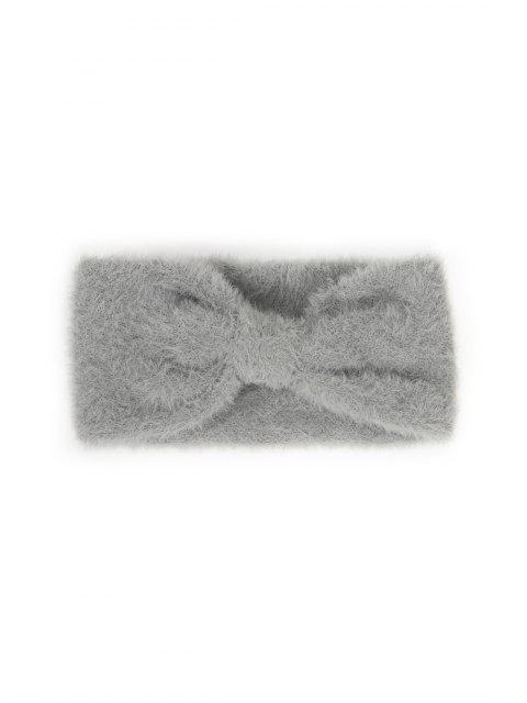 chic Faux Fur Bowknot Wide Headband - DARK GRAY  Mobile