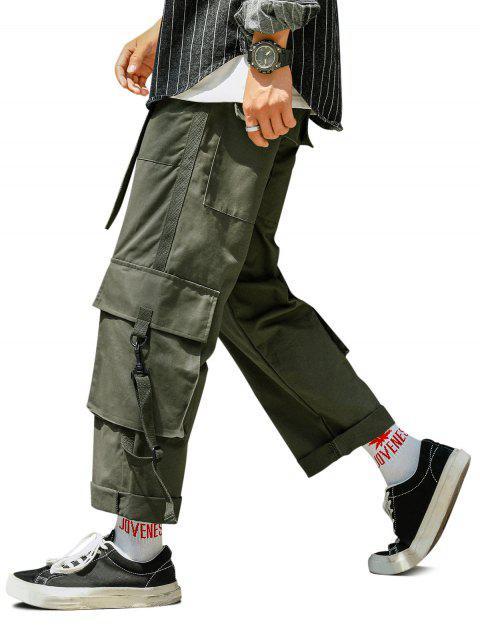 fashion Multi Pockets Elastic Waist Straight Cargo Pants - ARMY GREEN 2XL Mobile