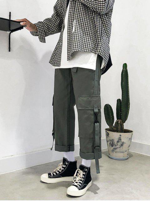 Bolsillos de múltiples cintura elástica pantalones rectos de Carga - Gris XL Mobile