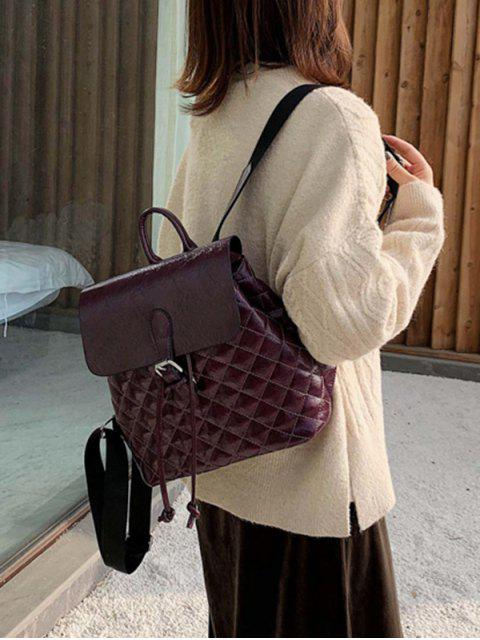 best Flap Buckled Quilted PU Leather Backpack - PLUM PURPLE  Mobile