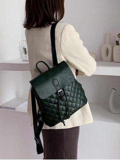 womens Flap Buckled Quilted PU Leather Backpack - DARK GREEN  Mobile