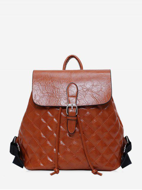 fancy Flap Buckled Quilted PU Leather Backpack - BROWN  Mobile