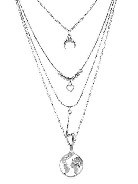 women Hollow Map Heart Layered Necklace - SILVER  Mobile
