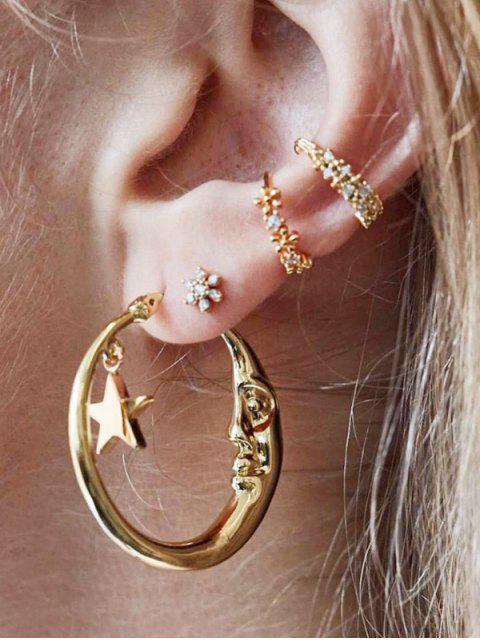 4Pcs-Mond-Stern Asymmetrische Ohrringe Set - Gold  Mobile