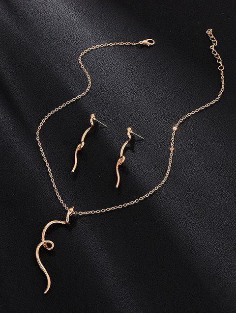 Serpiente torcedura del collar pendientes - Oro  Mobile