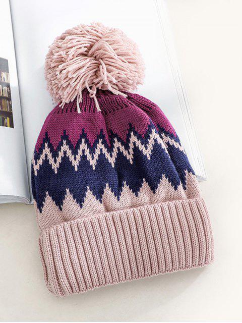online Zigzag Fleece Knitted Bobble Hat - LIGHT PINK  Mobile