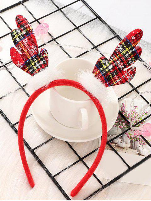 womens Christmas Plaid Pattern Antlers Hair Band - RED  Mobile
