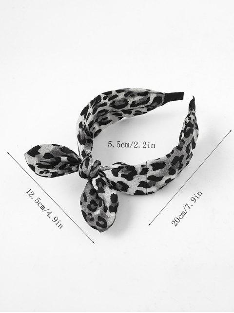 women Leopard Print Bowknot Wide Hairband - GOLD  Mobile