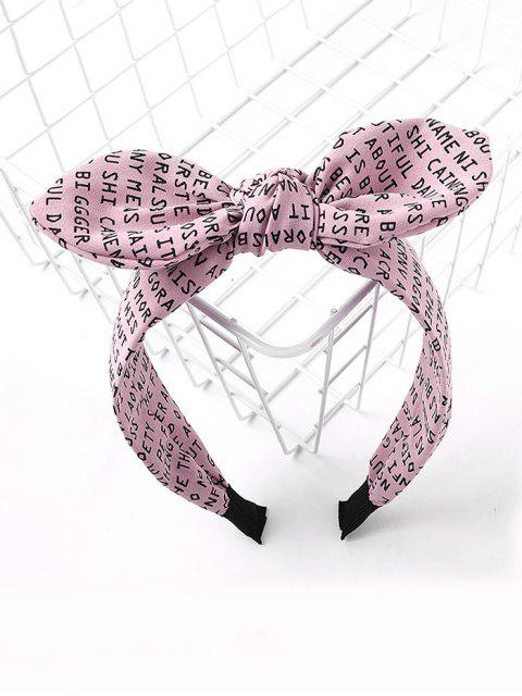 Bande de Cheveux Lettre Imprimée Partout avec Nœud Papillon - Rose   Mobile