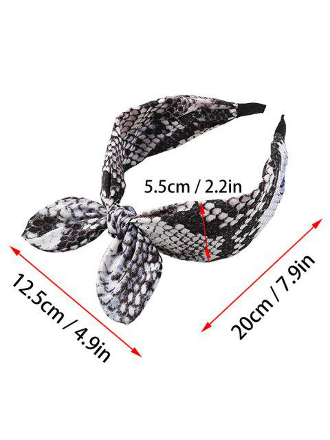 shops Bowknot Snakeskin Print Wide Hairband - GRAY  Mobile