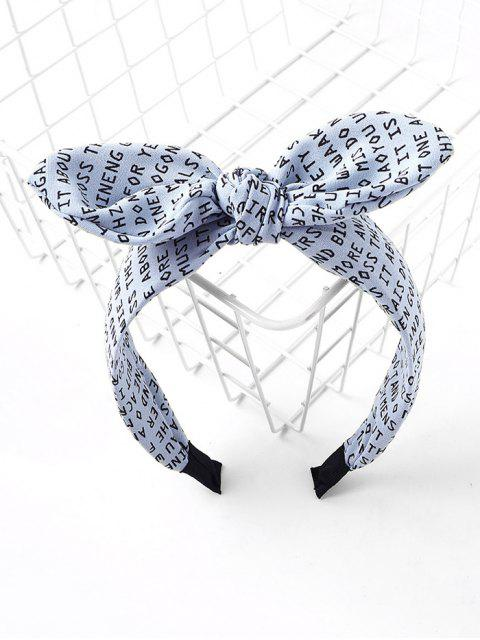 ladies Letter Allover Print Bowknot Hair Band - BLUE  Mobile