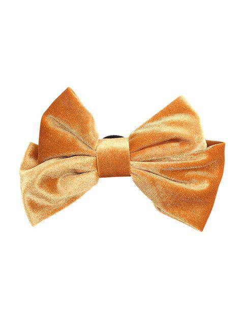 new Velour Solid Bowknot Hair Clip - YELLOW  Mobile