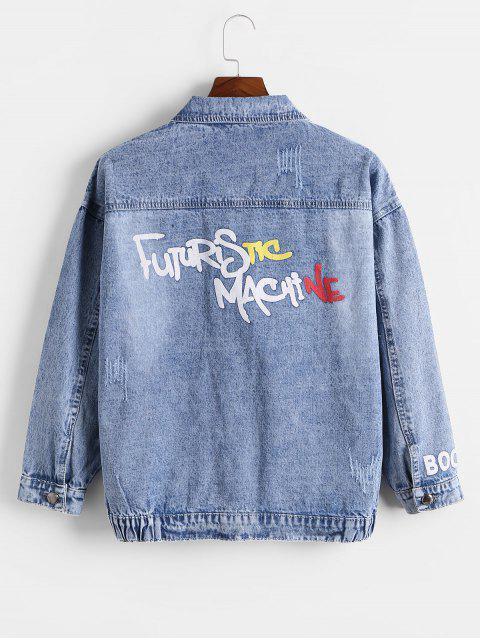 Impresión de la letra de Scratch Flap Jean bolsillo de la chaqueta - Gris Azulado XL Mobile