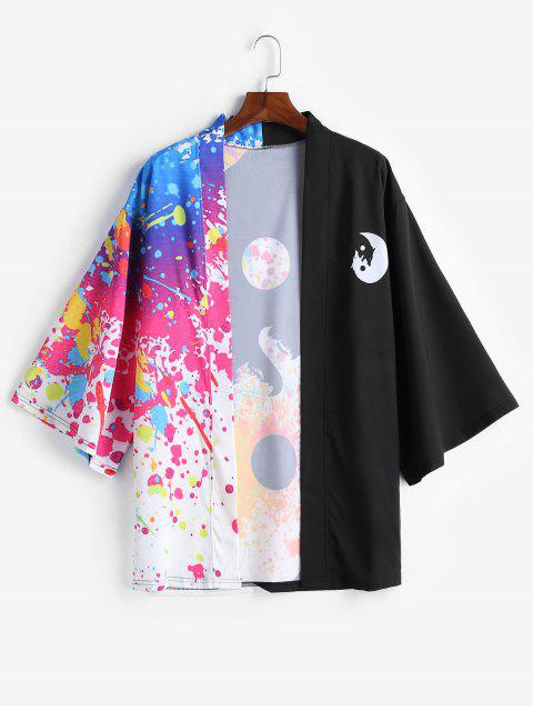 fancy Roaring Moon Wolf Print Open Front Kimono Cardigan - MULTI-A M Mobile