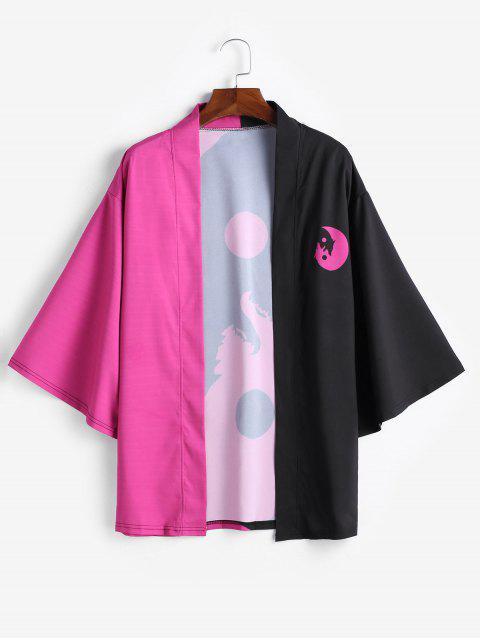 Cardigan Kimono Ouvert en Avant Lune et Loup Imprimés - Fleur Violet S Mobile
