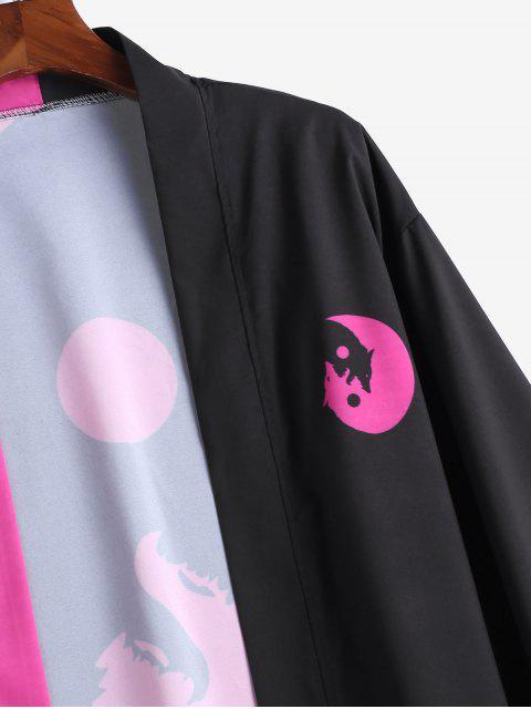 Cardigan Kimono Ouvert en Avant Lune et Loup Imprimés - Fleur Violet XL Mobile