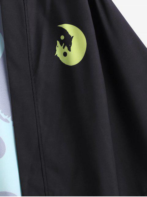 CárdigandeAbertura FrontalconEstampado de Lobo y Luna - Verde Amarillo L Mobile