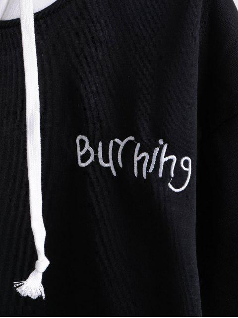 Carta bordado Colorblock empalmado Fleece con capucha - Negro M Mobile