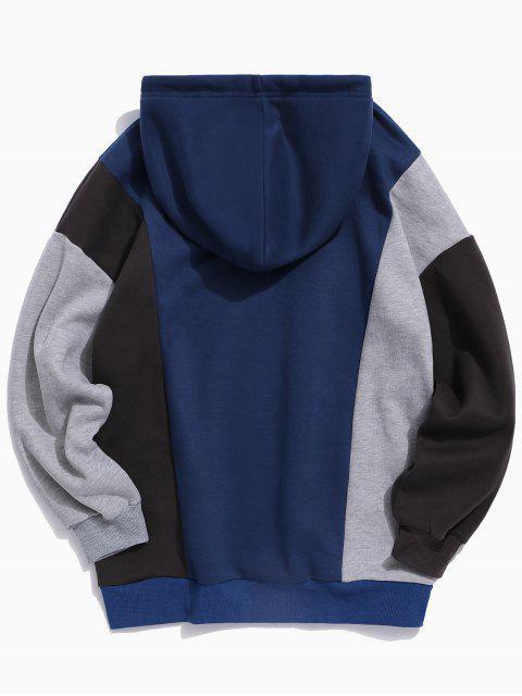 Contraste de colores Carta empalmado con cordón Sudadera con capucha - Lapislázuli M Mobile