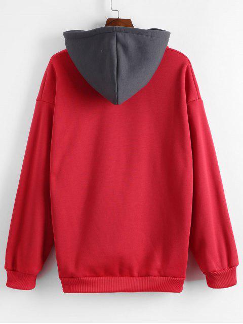 Carta bordado Colorblock empalmado Fleece con capucha - Rojo Lava XS Mobile