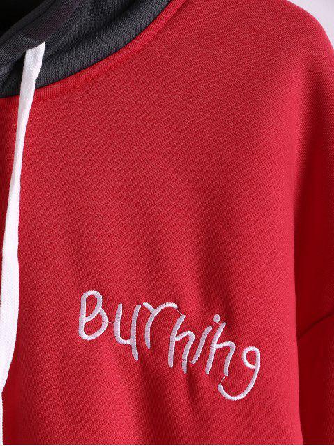 Carta bordado Colorblock empalmado Fleece con capucha - Rojo Lava S Mobile