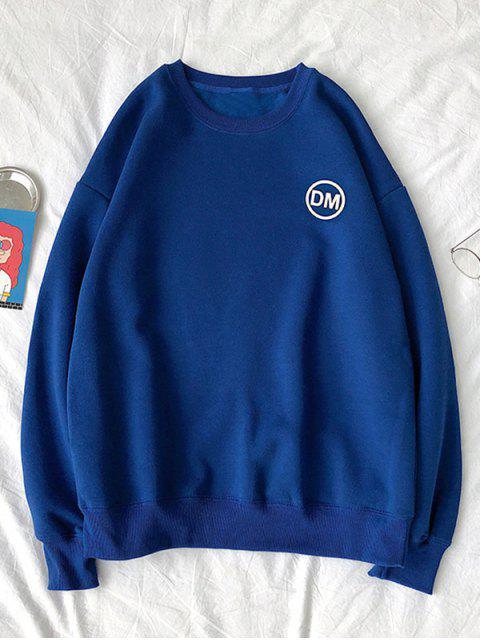 Casual Carta gráfica impresa con capucha - Azul Cobalto 2XL Mobile