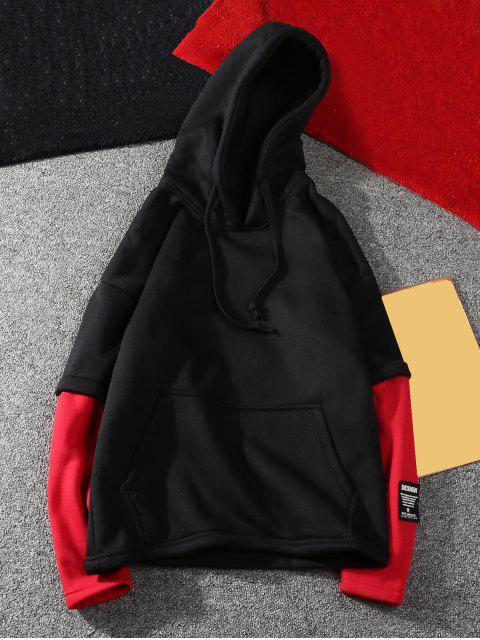 Colorblock bolsillo canguro con capucha Patrón Carta - Negro XS Mobile