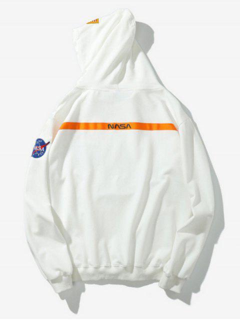 Buchstabe Druck Amerikanischer Flaggen Lässige Taschen Hoodie - Weiß S Mobile