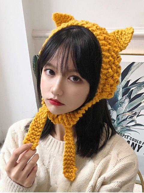 trendy Knitted Woolen Yarn Ears Shape Hair Accessories - YELLOW  Mobile
