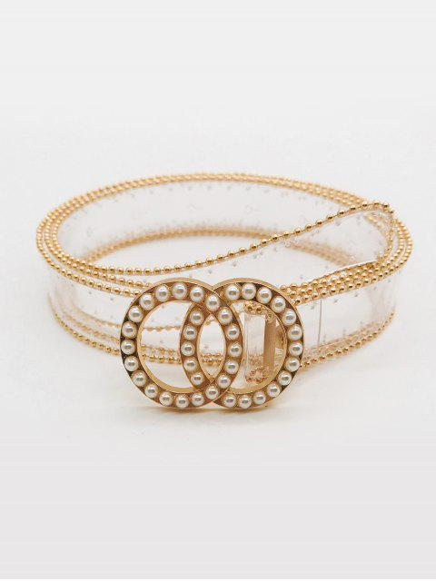 women's Artificial Pearl Round Shape Transparent Waist Belt - TRANSPARENT  Mobile