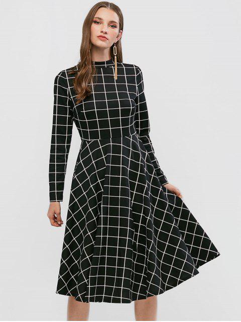 best ZAFUL Long Sleeve Checked Mock Neck A Line Dress - BLACK L Mobile