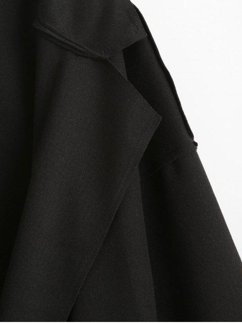 Reverskragen Tasche Wollmischung Mantel - Schwarz S Mobile