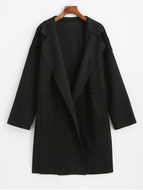 Reverskragen Tasche Wollmischung Mantel - Schwarz XL  Mobile