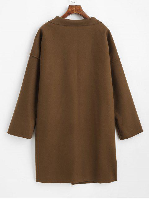 Manteau avec Poche en Avant en Laine Mélangée - Marron Camel L Mobile