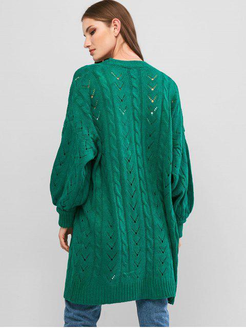 Laterne Ärmel Zopfmuster Perforierte Strickjacke - Ara Blaugrün Eine Größe Mobile